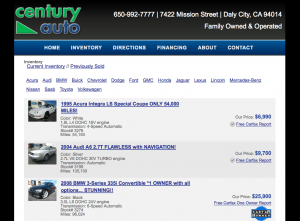 Standard Desktop view of dealer website