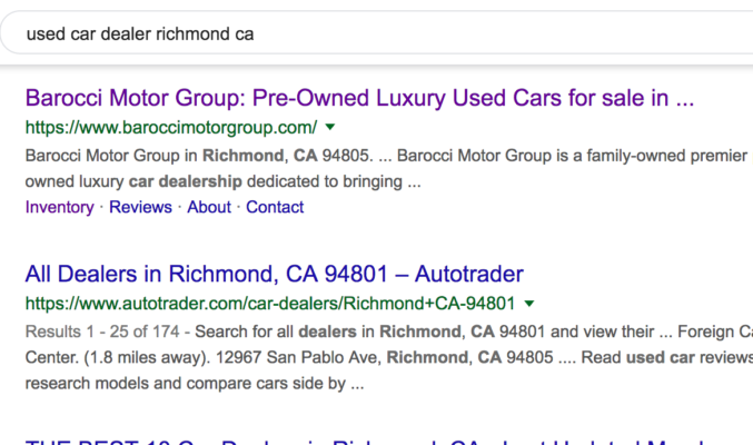 Barocci Motor Group in Richmond appears at the top of Google search in the first position